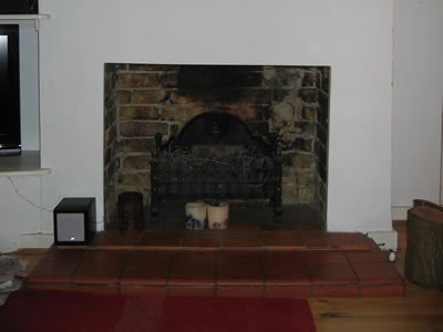 brick fireplace at home