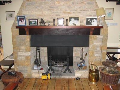 fireplace on wooden floor
