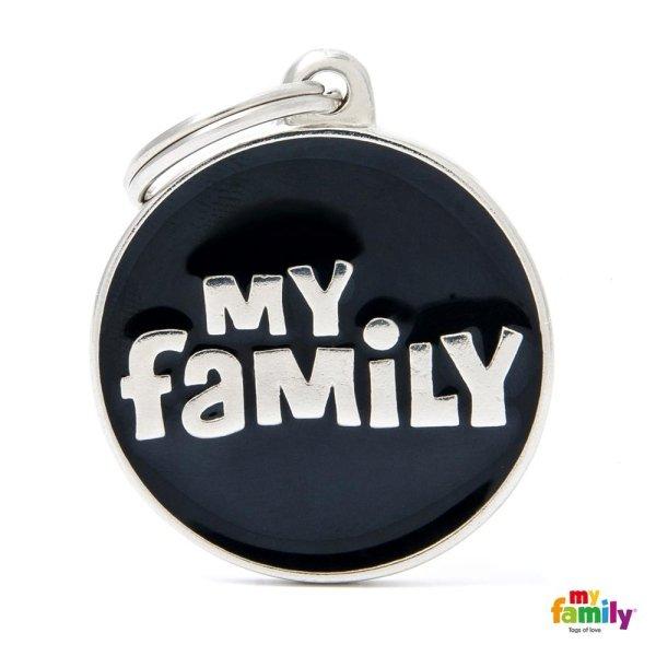 portachiave scritto my family nero