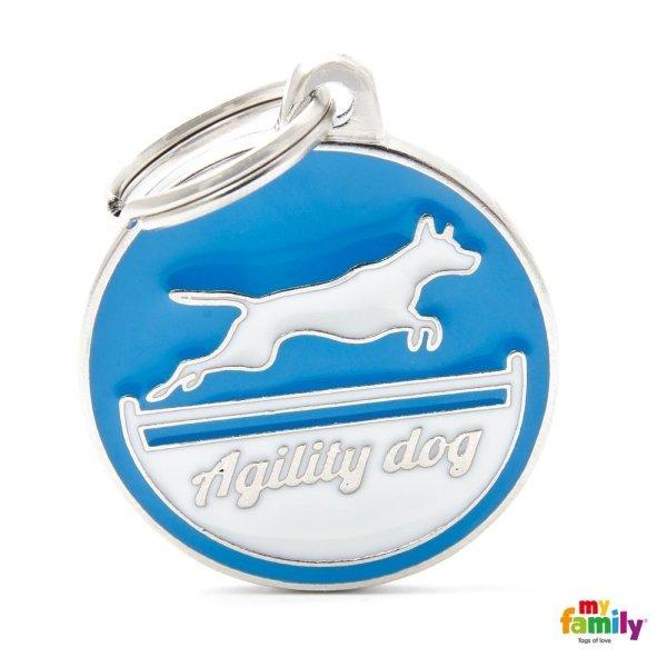 logo di agility dog sul portachiave con colore di blu