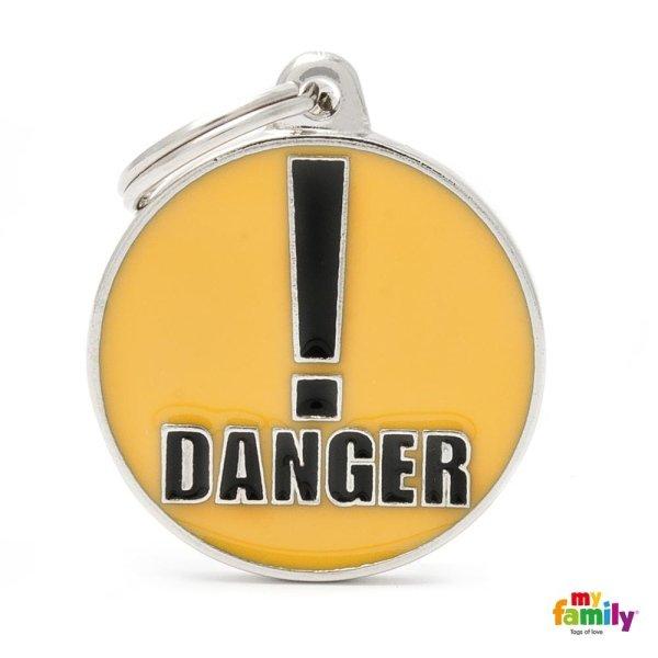 portachiave con scritta danger