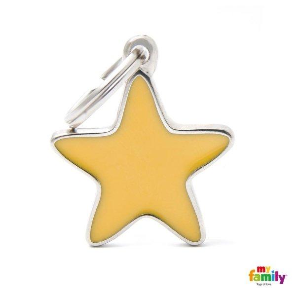 portachiavi a forma di stella gialla