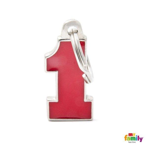 portachiave in forma di numero uno econ colore rosso