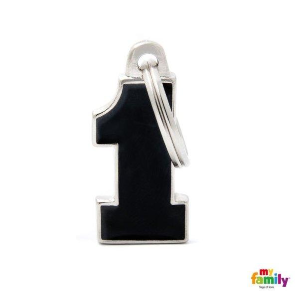 portachiave in forma di numero uno econ colore di nero