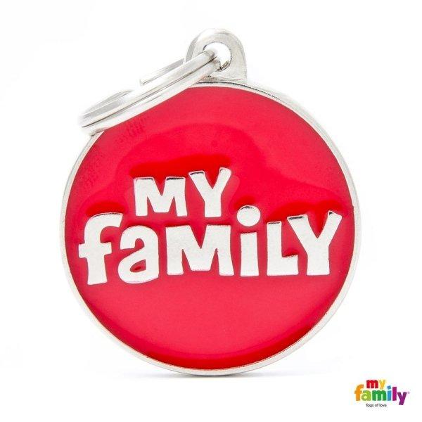 portachiave scritto my family rosso