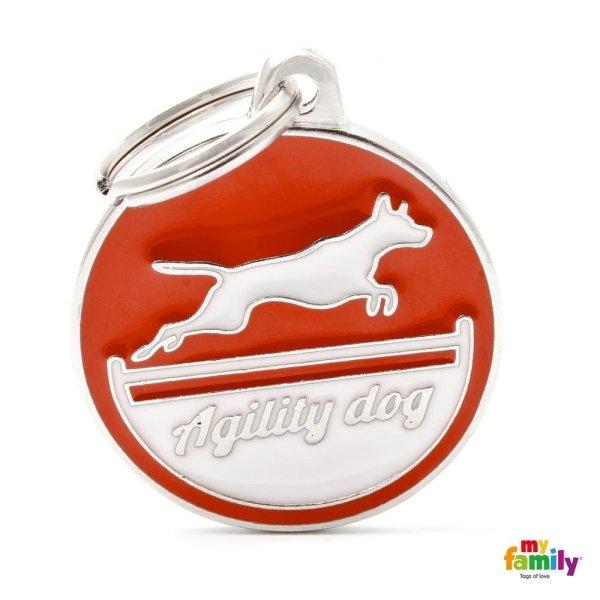 logo di agility dog sul portachiave con colore di arancia