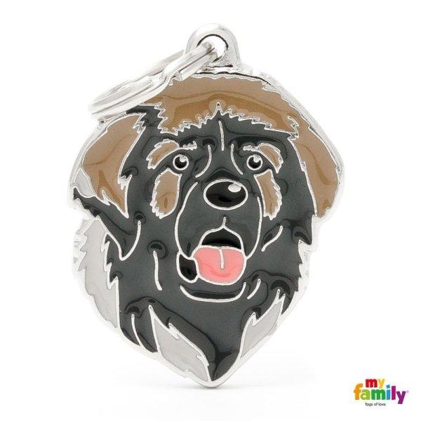 portachiave a forma di cane nero con barba