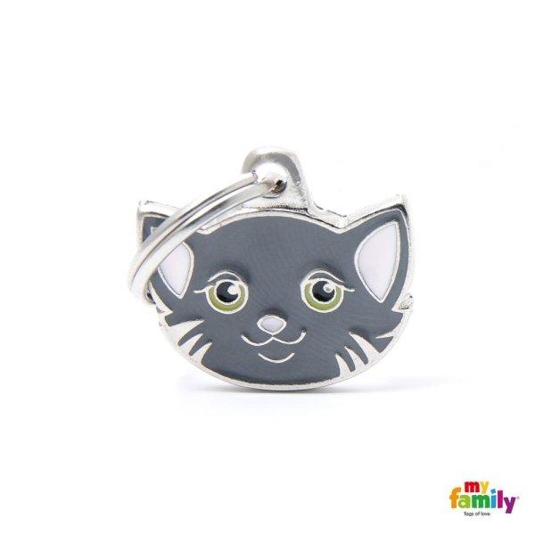 portachiave a forma di gatto grigio