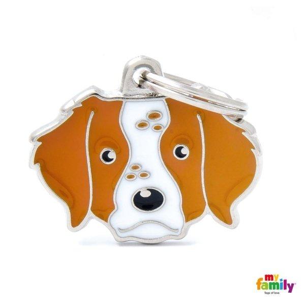 portachiave a forma del cane con giallo orecchio