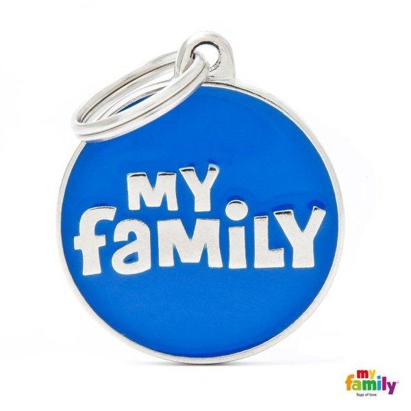 portachiave scritto my family blu