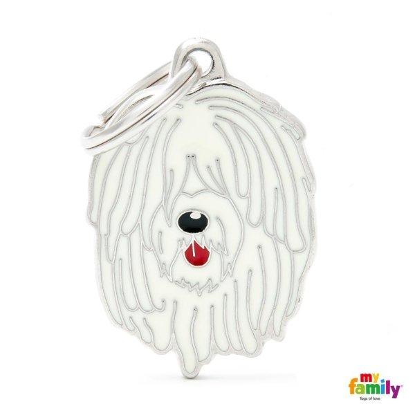 portachiave a forma di cane bianco con barba