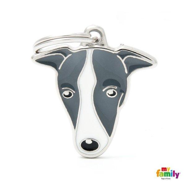 portachiave a forma di cane grigio
