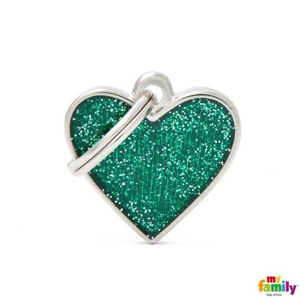 ciondolo verde a forma di cuore
