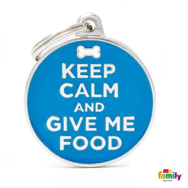 portachiave con scritta keep calm give me food