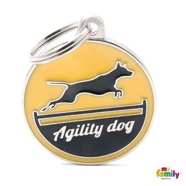 logo di agility dog sul portachiave con colore di giallo
