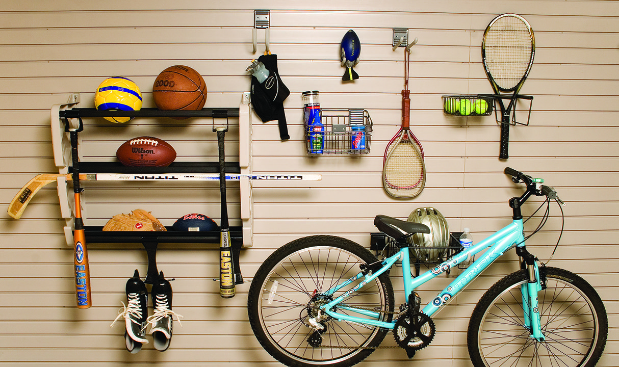 sports equipment hanging on a slatwall with HandiWALL hooks and other items from a kit found & HandiWALL® | HandiACCESSORIES™ | Discount Garage Accessories