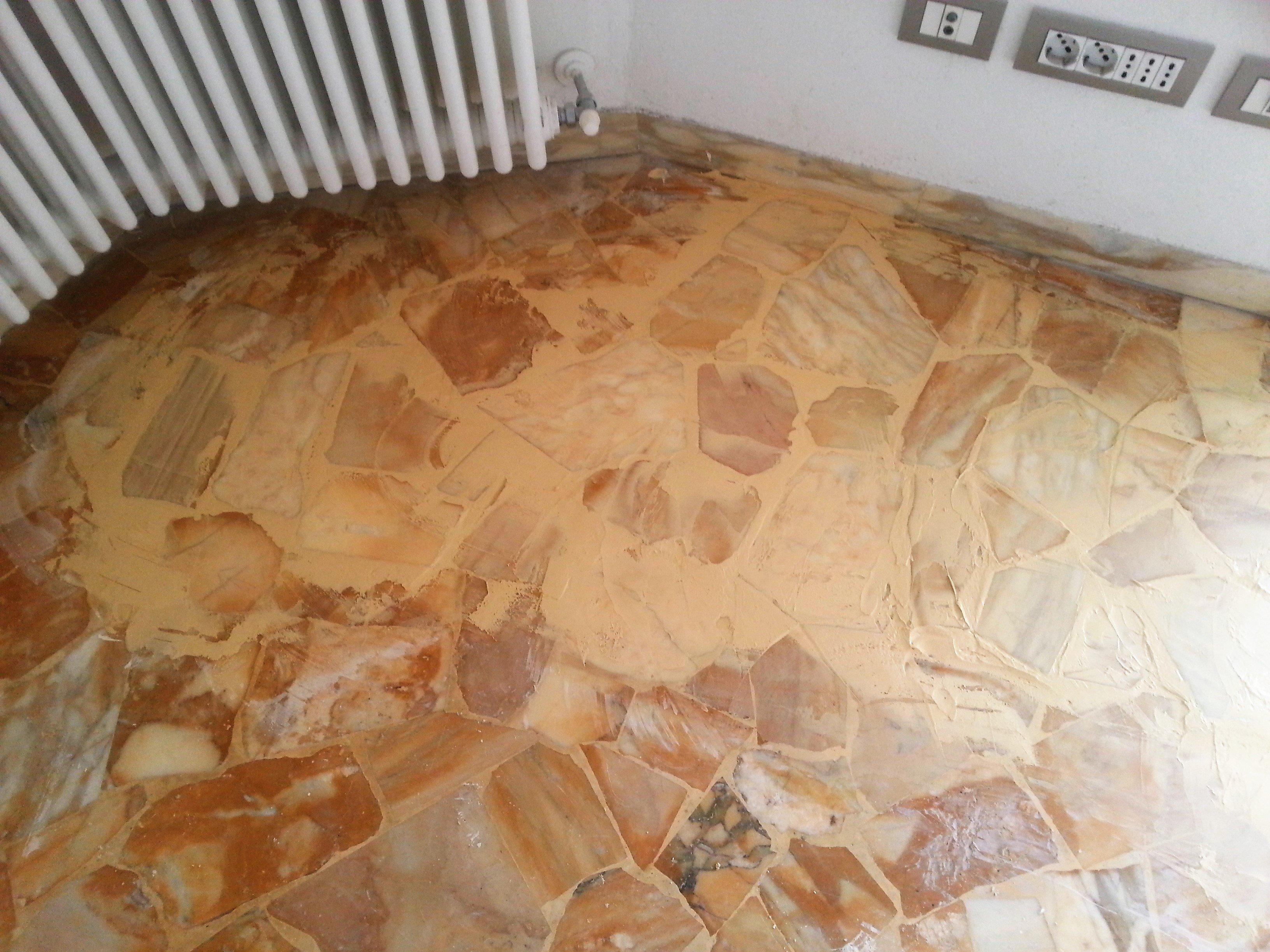 pavimento alla palladiana con termosifone
