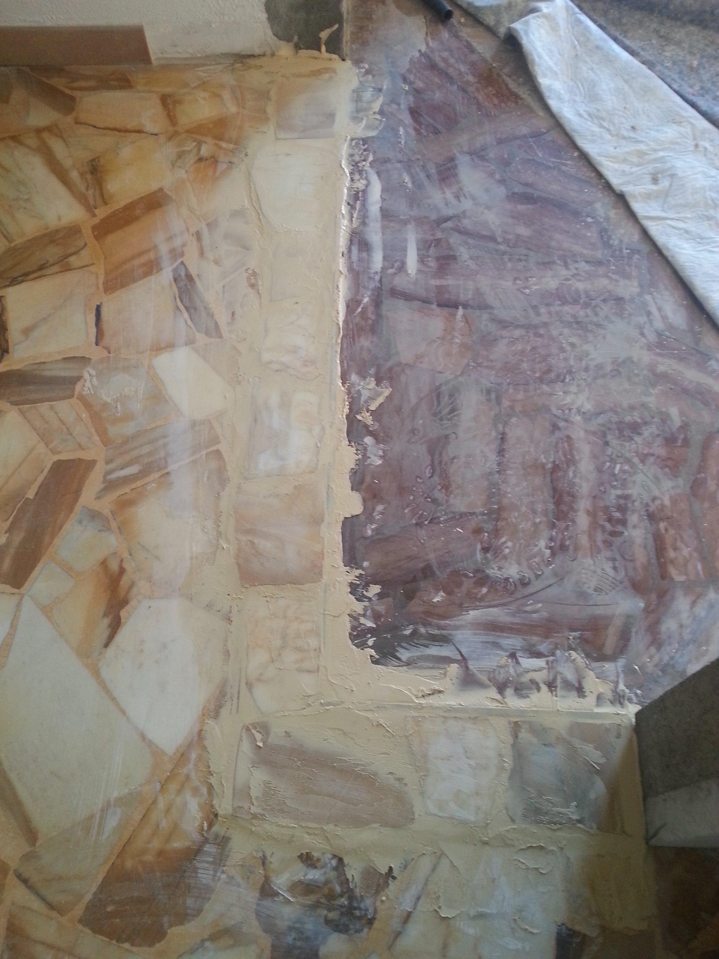 pavimento alla palladiana in fase di ricostruzione