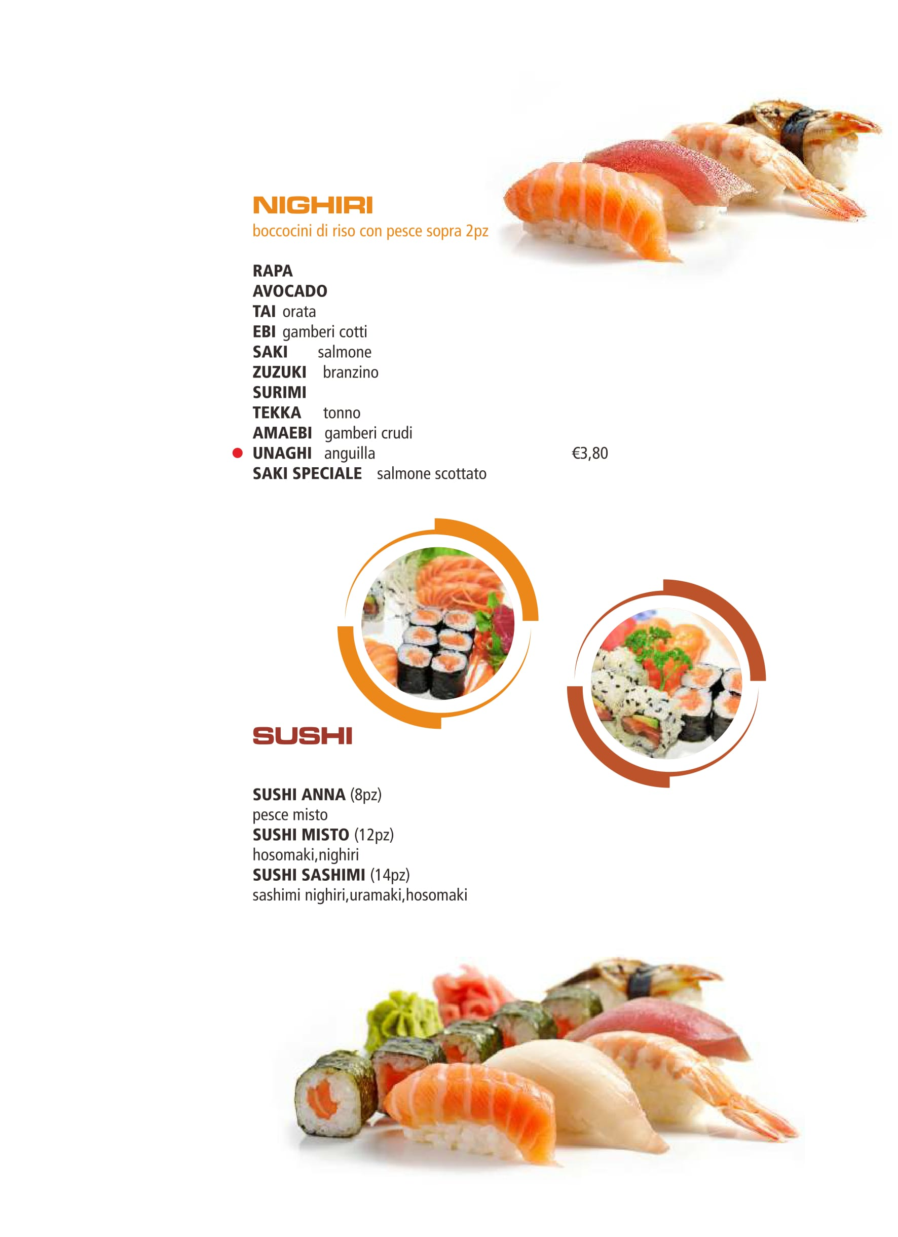 un menù edi sashimi,tartare,cirashi,barca,carpaccio di pesce