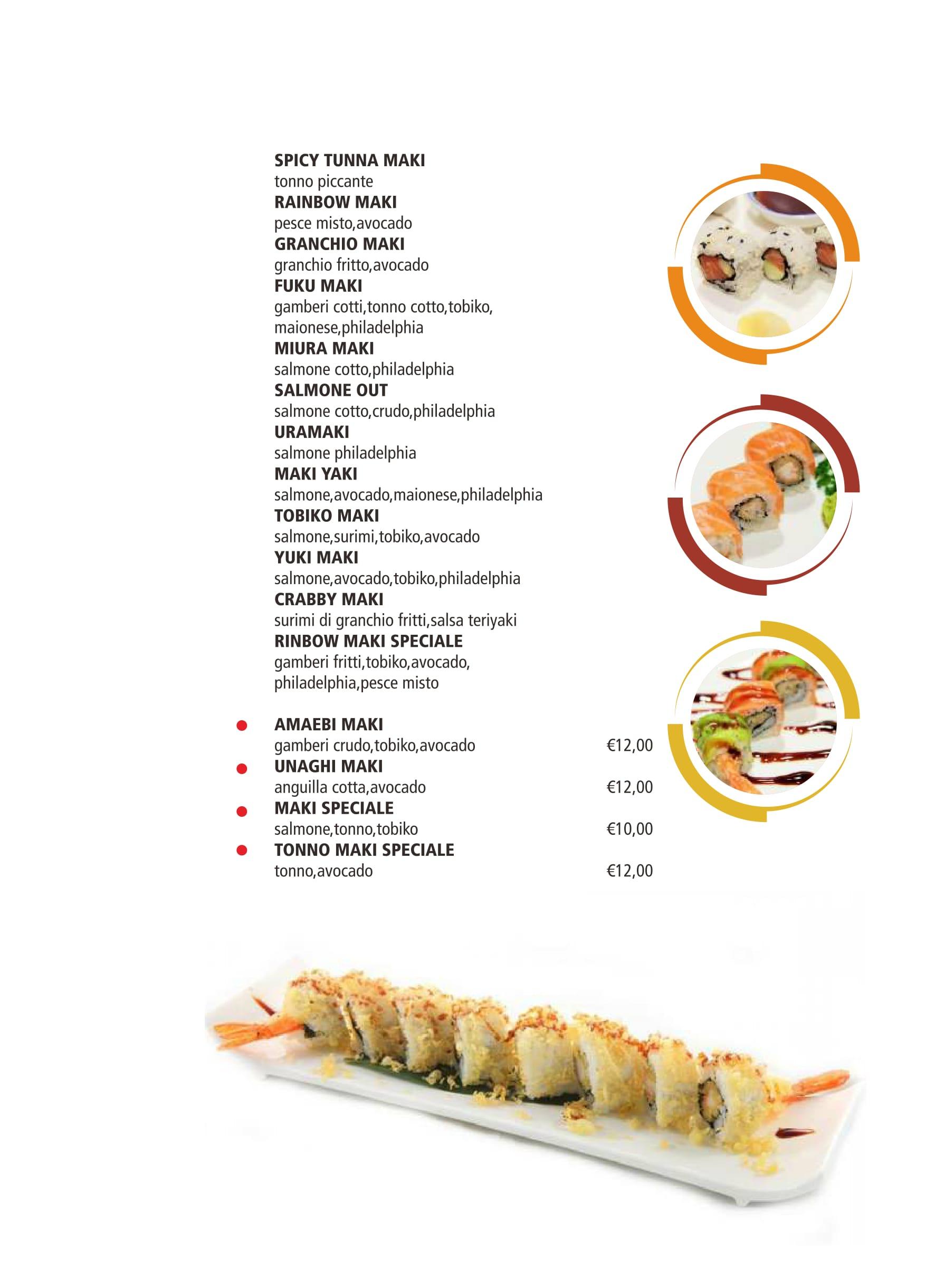 un menù di futo maki,temaki,sushi