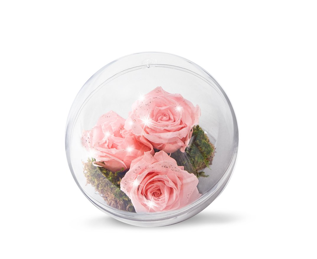 Magnificient diamond roses in Easter bulb in blue and pink