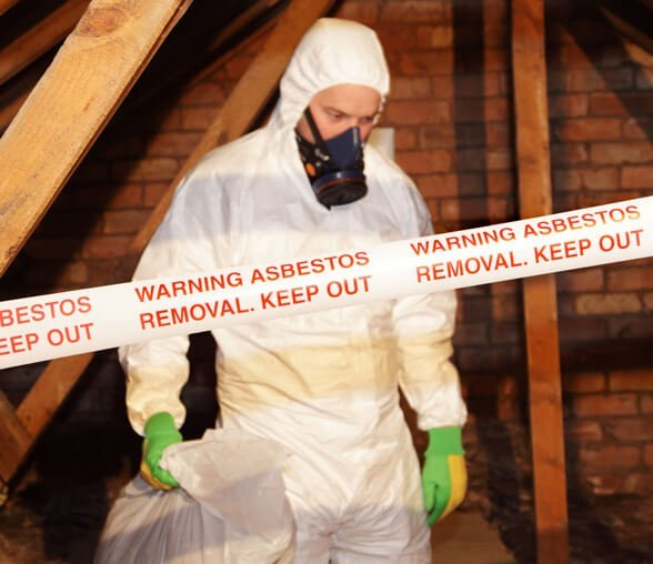 Man dealing with asbestos