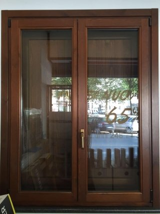 Double casement pine wood window