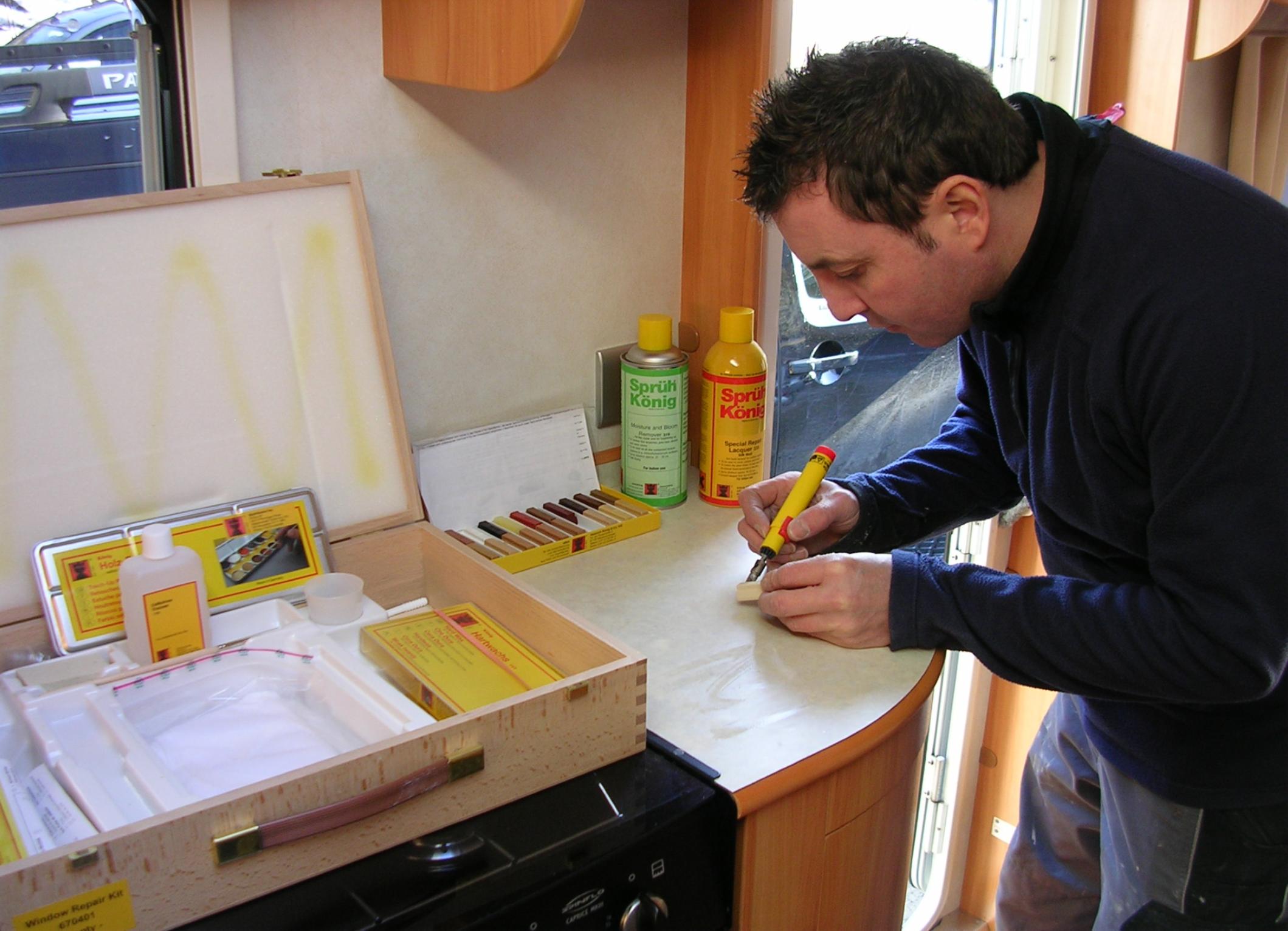 work inside the caravan