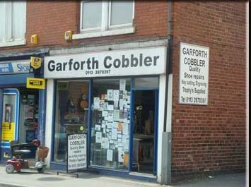 View of the entry to the Garforth Cobbler shop in Leeds
