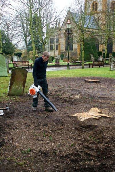 Preparing the area prior to removing the stump.