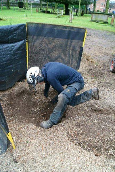 We remove any smaller parts of stump by hand to complete the job.