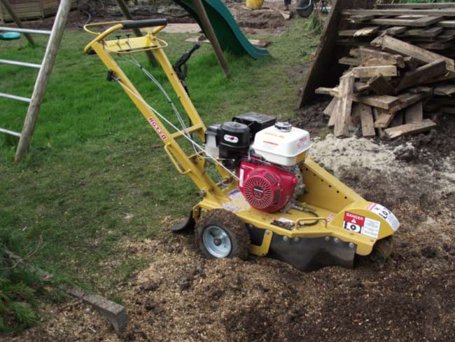 The smaller grinder is not much bigger than your average lawn-mower.