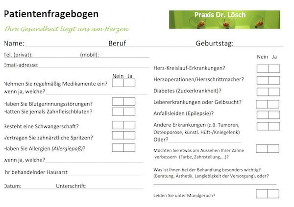 Patientenfragebogen Zahnarztpraxis Dr. Lösch, Erlangen-Tennenlohe
