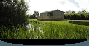Lodge with grass around