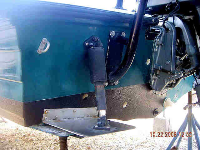 Notice in on this boat, the aluminum trim tabs were not painted.