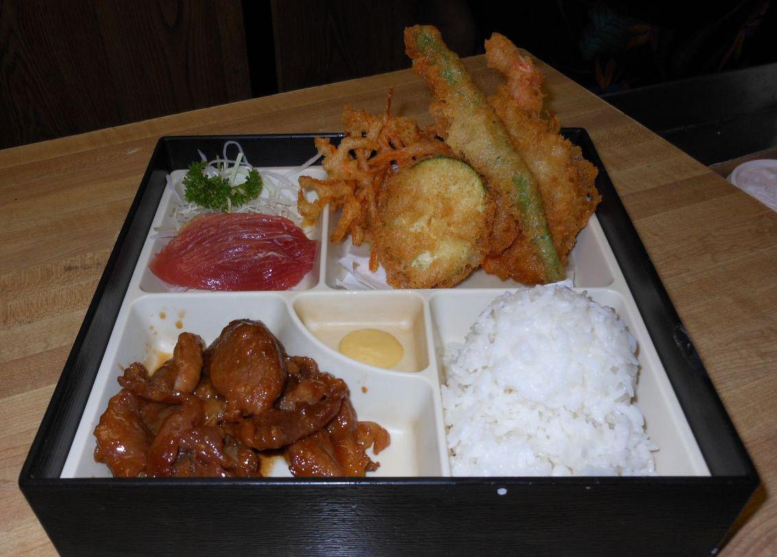 Teishoku A, teriyaki pork, shrimp & vegetable termpura and shashimi