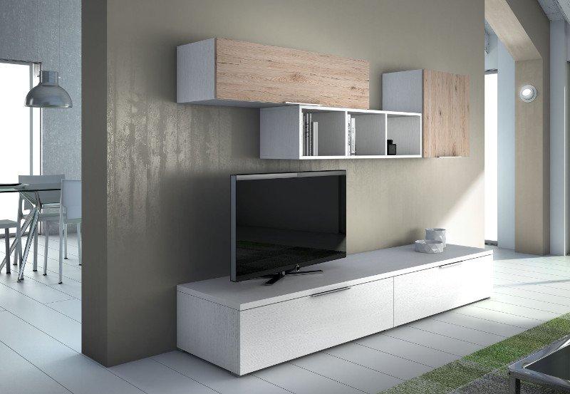 un mobile bianco con sopra una tv e altri mobiletti bianchi e beige a muro