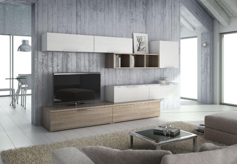 un salotto con un mobile tv bianco  e altri mobiletti bianchi e beige a muro