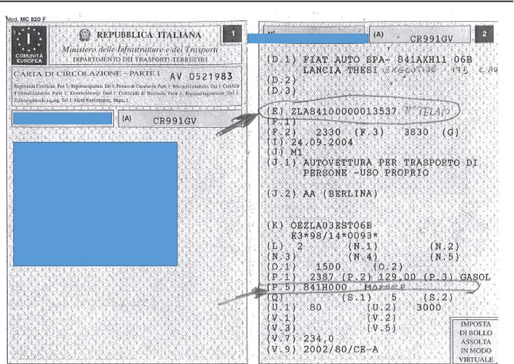 codice telaio e tipo di motore