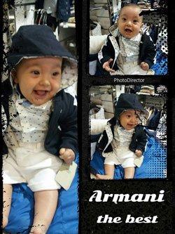 tre immagini di un neonato vestito in modo casual con un giubotto e cappuccio