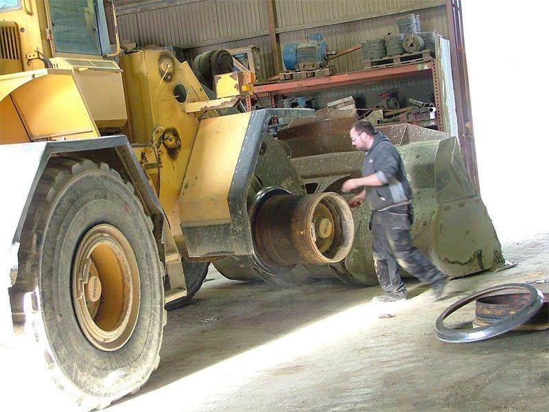 work on truck tyre