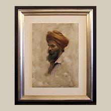 Custom framed oil painting on board