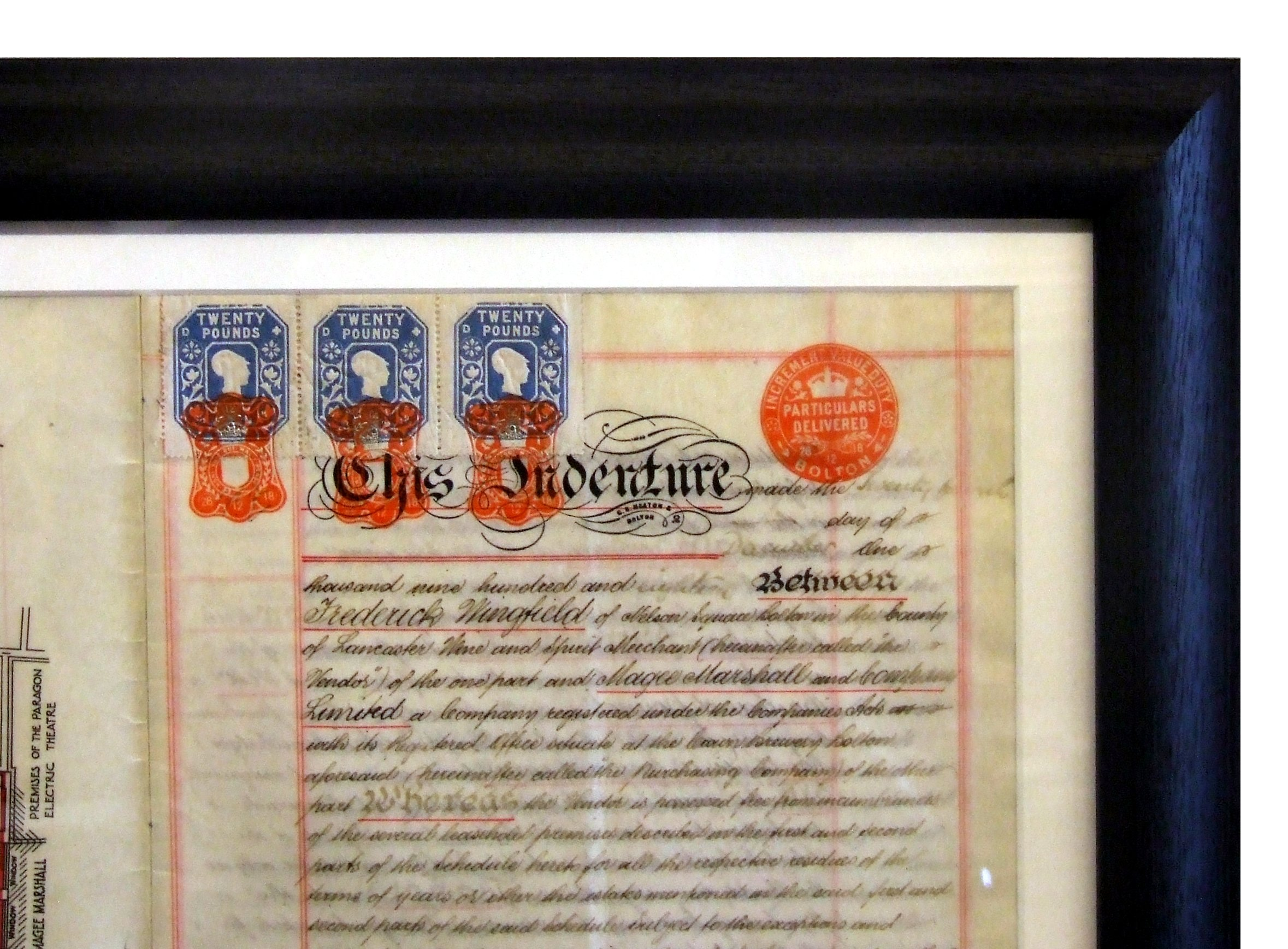 A close-up frame of a certificate