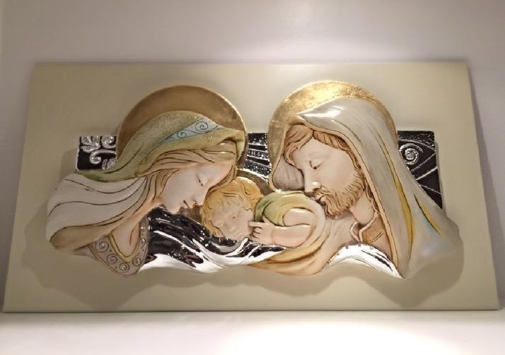 Capezzale con Sacra Famiglia in Argento e Ceramica di Memory Argenti