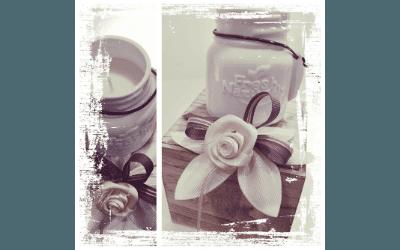 Confezione con nastro petali e rosa fatta a mano