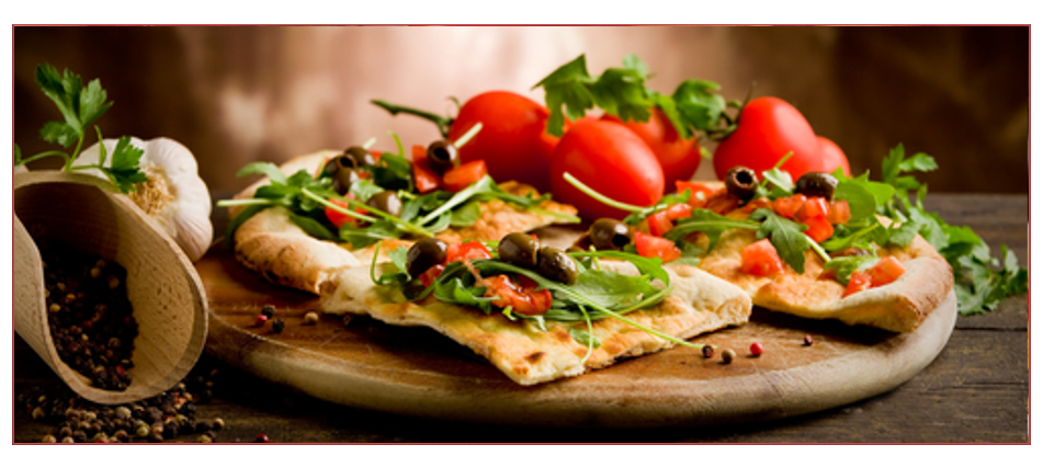 Thing base pizza with cheese, tomato, rocket and olives on it