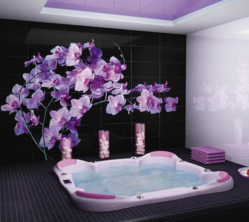 vasca da bagno con fiori