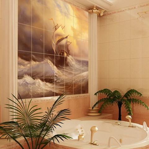 bagno con piastrelle dipinte