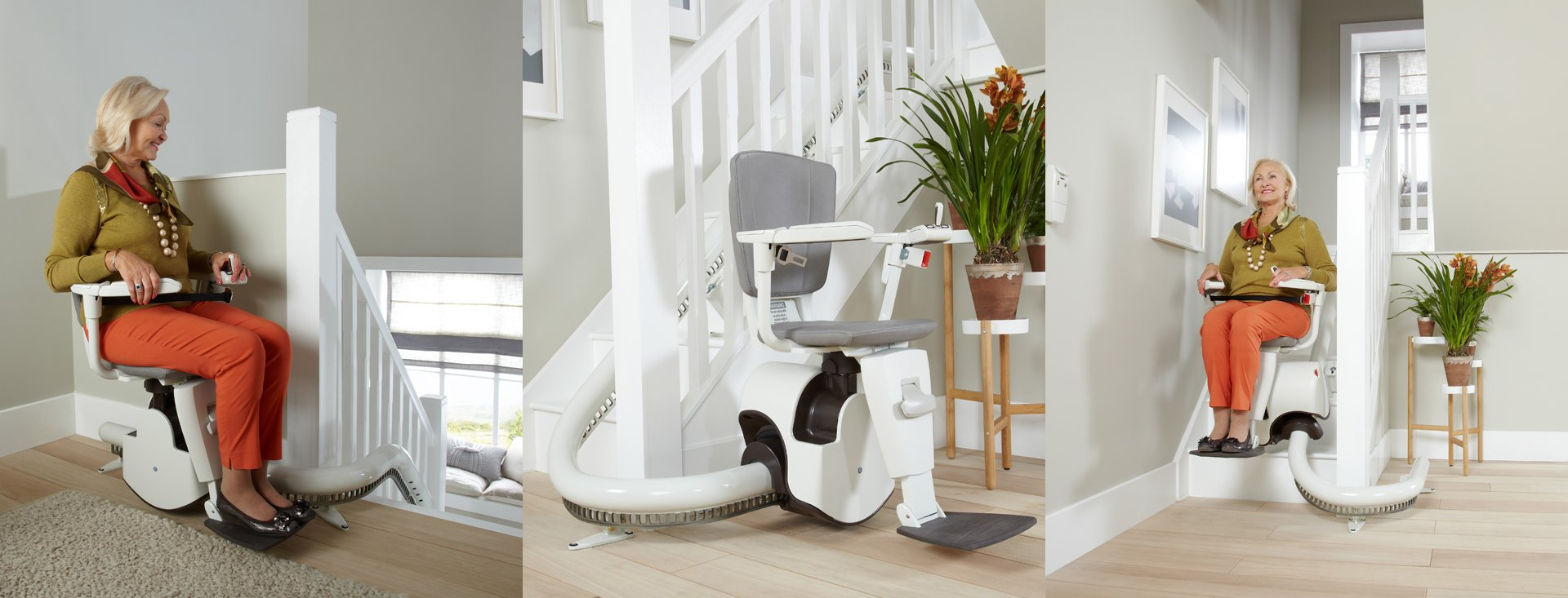 a lady using curved stairlift