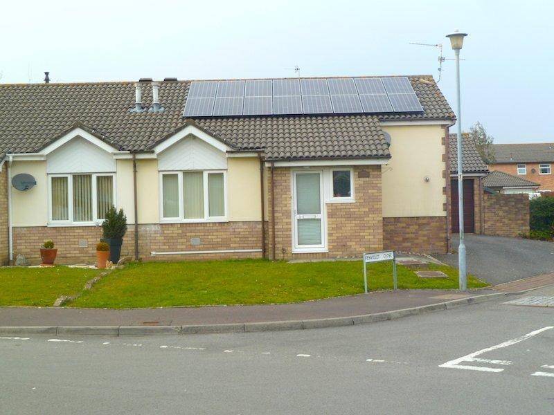 solar panel installed on slate roof